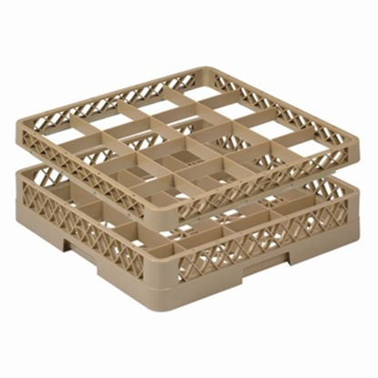 Picture of 16 Compartment Glass Rack L50xW50xH10 cm., Beige Color Compartment Size: 11.5x11.5 cm. (GC226-JB-16)