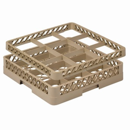 Picture of 9 Compartment Glass Rack Extender L50xW50xH4.5 cm., Beige Color Compartment Size: 15x15 cm. (GC226-JB-92)