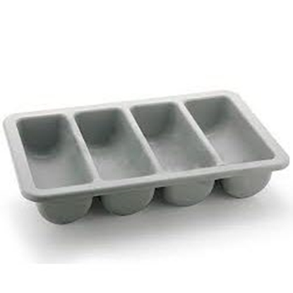 Picture of Polyethylene Four Compartment Cutlery Tray, Gray Color L51.5xW29xH9.5 cm. (GC226-8673)