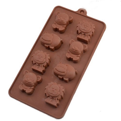 Picture of Freshware 8-Cavity Silicone Chocolate Mold Lion Hippo Bear L5xW4xH2 cm. (GC280-9651)