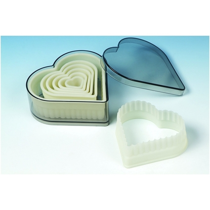 Picture of Nylon Cookie Cutter Set Fluted Heart - 7 Piece Set (GC280-9103A)