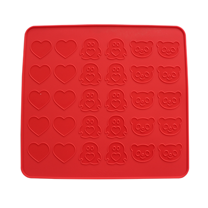 Picture of Silicone Macaron Baking Sheet Small Ridge Heart, Penguin And Bear L39xW36 cm. (GC280-9298)