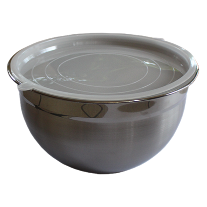 Picture of Stainless Steel Mixing Bowl With White Plastic Lid D22xH14 cm. (GC280-9185)